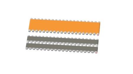 Flat belts on long motorized roller zones